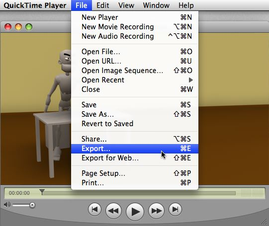 Screenshot of File Menu highlighting Export