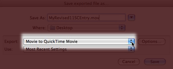 Screenshot of QuickTime Export Dialog highlighting Export Menu