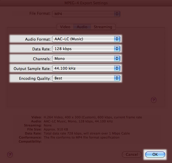 Screenshot of QuickTime MPEG-4 Audio Settings