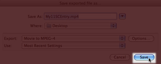 Screenshot of QuickTime Export Save Button